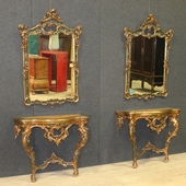 Spanish pair of consoles with mirrors of the 20th century