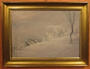 Frost and boats on the river Po A Rolla 1964