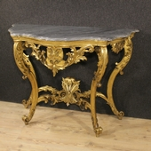 French golden console with marble top of the 19th century