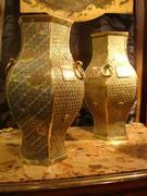 REF PVL pair of cloisonné vases H 34 cm