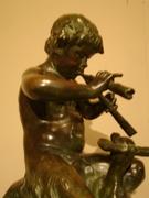 REF KU Bronze Faun playing Flute H tot 38 cm