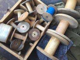 Nice old vintage wooden textile Bobbins to decorate various sizes and models for SALE at davidowski antique holland export shipping wordwide