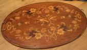 Floral marquetry tray