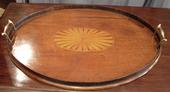 Oval tray with inlay