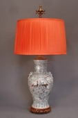Pair of Chinese vase lamps incl silk shades