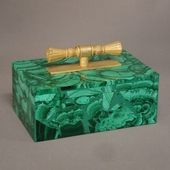 Malachite box with bronze handle