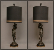 Pair of bronze figures mounted as lamps