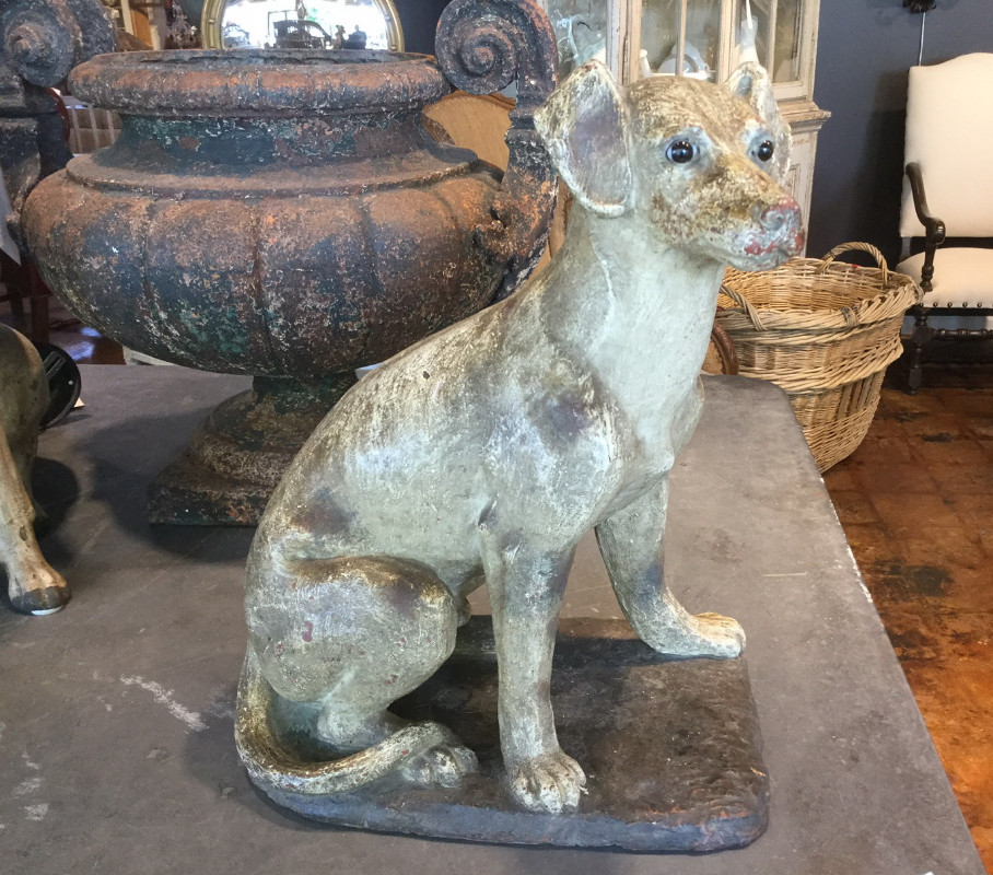 PAINTED TERRA COTTA STATUE OF HUNTING DOG