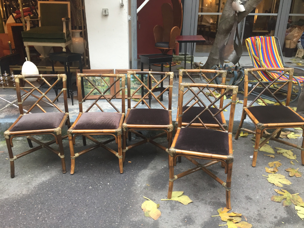 Set of 6 Rattan Chairs with Leather Strapping