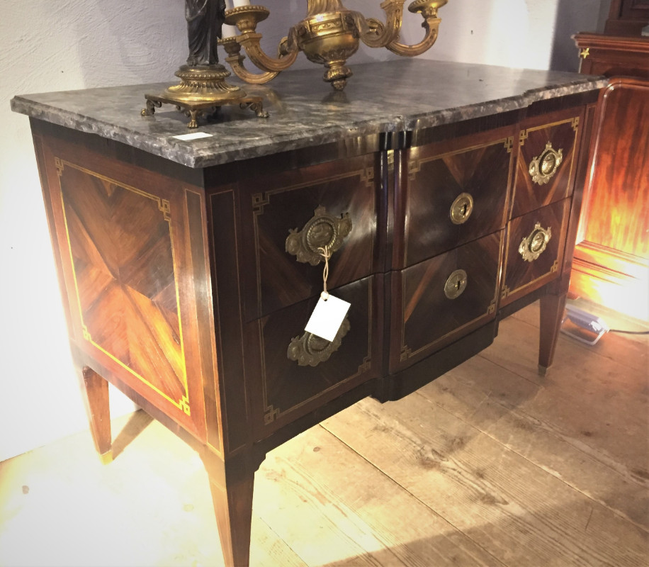 Neoclassical marble top commode