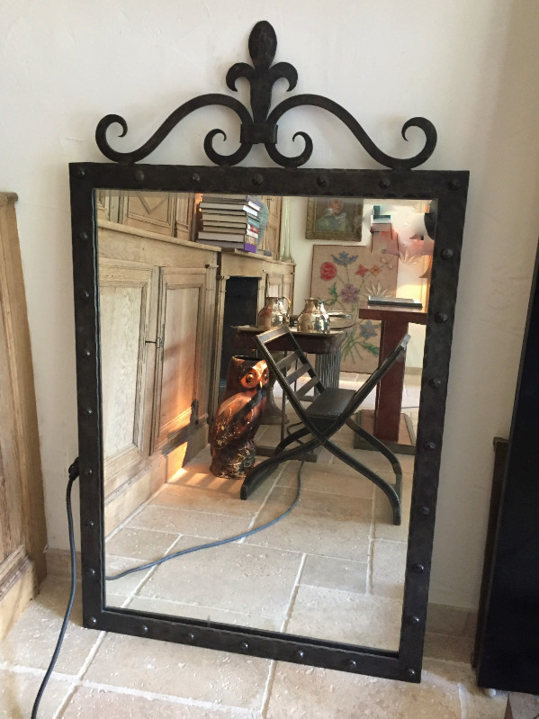 Iron Framed Mirror with Fleur de Lys Motif