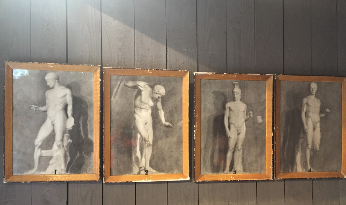 Series of 4 Nudes - Charcoal on Paper, Original Frames