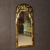 Italian chinoiserie lacquered, golden and painted mirror