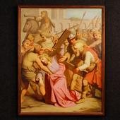 Antique French painting Way of the Cross of the 19th century