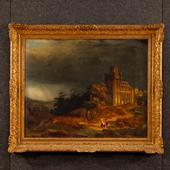 Antique Belgian landscape painting signed J. Verreyt J. of the 19th century