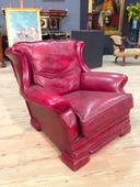 Comfortable leather armchair English 80s