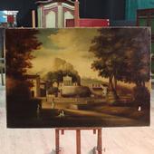 Large Italian oil on canvas landscape of the twentieth century