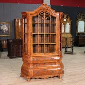 Dutch bookcase moved and curved in walnut root of the half of the twentieth century