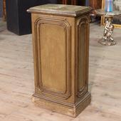 Italian column in carved and painted wood to be restored of the late nineteenth century