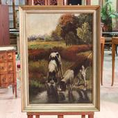 Signed painting oil on canvas depicting landscape with hunting dogs from Northern Europe of the twentieth century