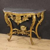 French golden console with marble top of the nineteenth century