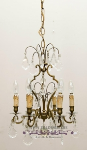 Small chandelier with glass and 6 light points