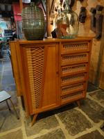 oak and rattan cabinet