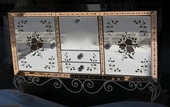 1950 70 Sideboard Mirror art deco with eglomisées flowers