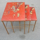 1950 70 Series of 3 gigognes tables in the style of Maison Bagués in bronze with top china laq with landscape and pagodas and person
