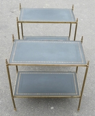 1970 Pair of Shelf or Side Table in Brass Maison Bagués 2 Tray with Black Leather and gilted grecs deco 57 X 32 cm