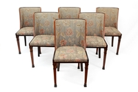 Set of six Art Deco dining chairs with classicized marquetry